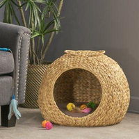 Highland Dunes Fern Rock Water Hyacinth Wicker Hooded Dog Bed with Fabric Cushion