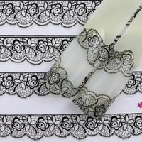 Girl12Queen Fashion Black Floral Lace Nail Art Sticker Decal for Nail Tips Decor Manicure