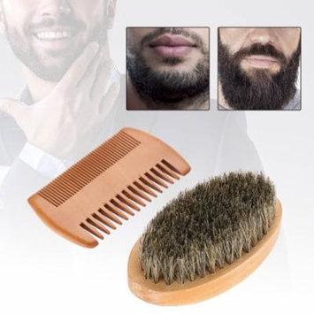 WALFRONT Men Beard Mustache Oval Brush + Comb Facial Beard Shaving Cleaning Grooming Kit , Mustache Brush, Facial Beard Brush
