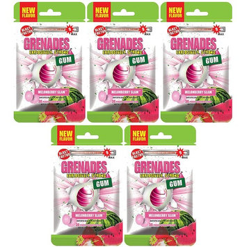 Grenades Explosively Strong Mint Sugar-Free Gum - Intense, Long Lasting Flavor and Breath Freshening - Pack of 5 (Melonberry Slam) (150 Pieces)