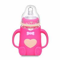 Baby Feeding Bottle Glass Milk Bottle Width Mouth Feeder 240ML Silicone Shockproof Nursing Bottle for 24 Months (Pink)