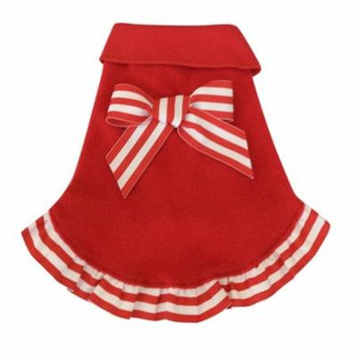 Candy Cane Ruffled Dog Pullover - Red Large