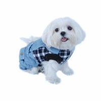 Dog T-Shirt Summer Clothes for Dogs Pet Cat Puppy Ultra Soft Comfy Tee T Shirts Costumes Tank Top Vest Clothing Apparel Fashion Blue White Plaid Top with Denim Overalls Outfit One-Piece - Large