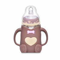 Bottle of Milk Glass 240 ml Silicone Baby Width Gift Bottles of Baby Milk Proof D 'Drinking Water Straw Handle Feeding Children cup(Brown)