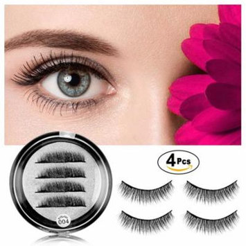 Magnetic Eyelashes No Glue - Dual Magnets Natural False Eyelashes - 3D Reusable Full Eye Fake Lashes Extensions - Thick Soft & Handmade Seconds to Apply (1 Pair 4 Pieces