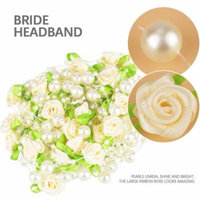 5m Rose Bride Headdress Handmade Pearl Wedding Decoration Accessories, Bridal Hair Accessories, Bride Headband
