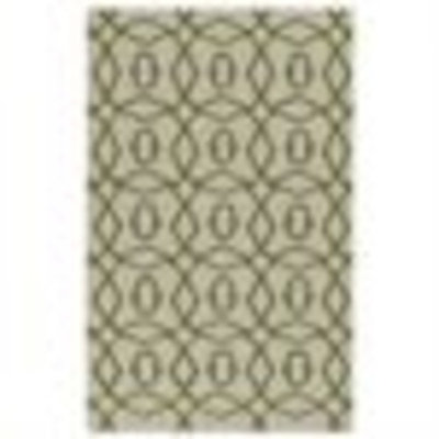 3.5' x 5.5' Coupled Circles Olive Green and White Hand Woven Wool Area Throw Rug