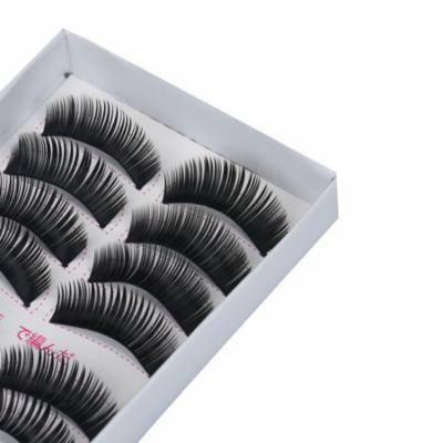 Mosunx 10Pairs Black Long Thick Cross Beauty Party Makeup Fake False Eyelashes