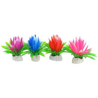 4 Pcs Plastic Assorted Color Lotus Flower Decor for Fish Tank