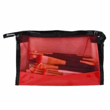 Mosunx 1PC Translucent PVC Makeup Bag Wire Side Storage Bag Red