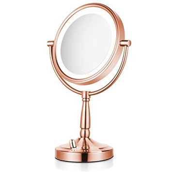 Lighted Makeup Mirror - 8'' LED Vanity Mirror 5x Magnification Double Sided Mirror Battery Operated Rose Gold Finish ALHAKIN