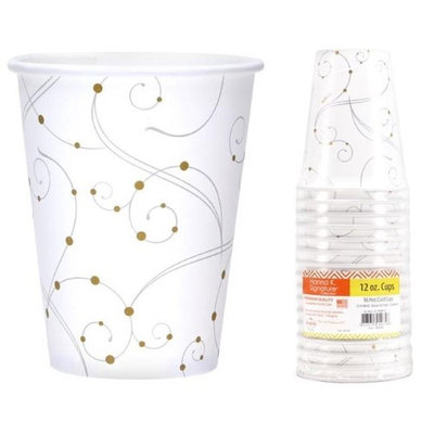Hanna K Signature 2184651 12 oz Swirls & Pearls Hot-Cold Paper Cup - 16 Count & Pack of 24