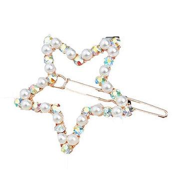 2 Pieces Bridal Full Rhinestone Star Hair Barrettes Pin Clip