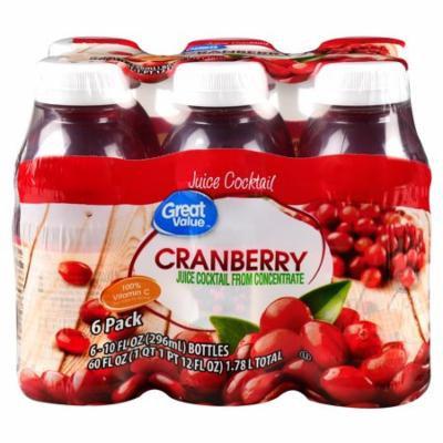 Great Value Cranberry Juice Cocktail, 10 Fl Oz, 6 Count