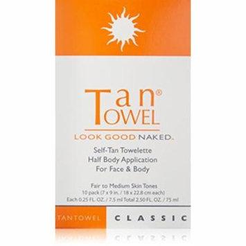 Tan Towel Self Tan Towelette Half Body Classic 10 Count, PACK OF 12