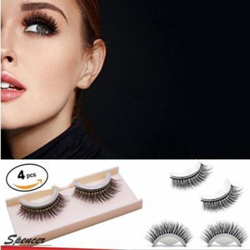 Spencer Magnetic Eyelashes 3D False No Glue Simulation Extensions-Ultra Thin Reusable False Eyelashes(4 Pack)