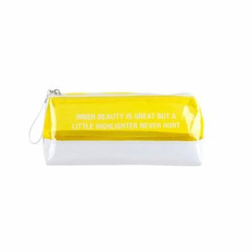 About Face Designs Inner Beauty Pencil/Makeup Bag, Yellow