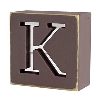 Mirror Rustic Hand Painted Letter Block - K by Two Up Two Down
