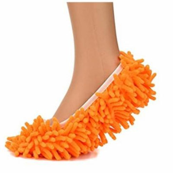 Microfiber Washable Mop Slippers Shoes Cover For Cleaning Dust & Dirt -Orange