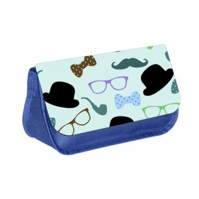 Hipster Elements - Blue Medium Sized Makeup Bag with 2 Zippered Pockets and Velcro Closure