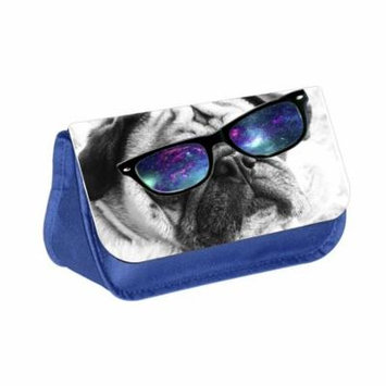Hipster Pug - Blue Medium Sized Makeup Bag with 2 Zippered Pockets and Velcro Closure