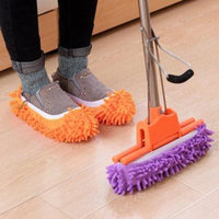Multifunctional Bright Color Elastic Chenille Micro Fiber Slipper Shoe Cover Slippers Mop Household Floor Dust Cleaning Tools