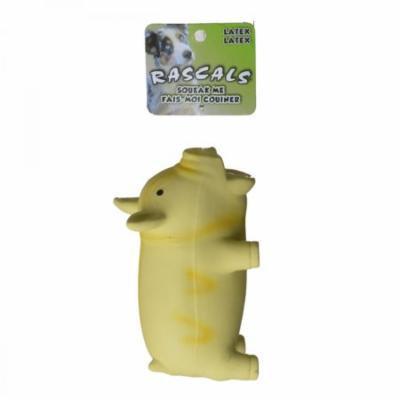 Rascals Latex Grunting Pig Dog Toy - Yellow 6.25