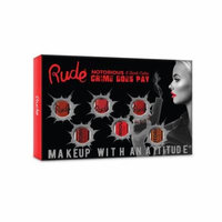 (3 Pack) RUDE Crime Does Pay 6 Notorious Liquid Lip Color Set - Dark