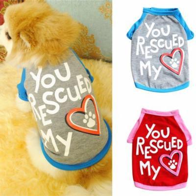 Girl12Queen Cute Pet Dog Puppy Letters Heart Pattern Cotton Soft Comfortable T-shirt Apparel