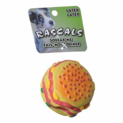 Rascals Latex Hamburger Dog Toy 2.5