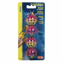 Living World Plastic Balls with Bells Bird Toy 4 Pack - Pack of 10