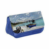 Monet's Sailboats Painting - Blue Medium Sized Makeup Bag with 2 Zippered Pockets and Velcro Closure