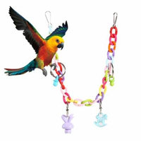 Keenso 35cm Length Acrylic Colorful Chewing Drawbridge Swing Pet Bird Parrot Toy Chain With Pendant , Chewing Drawbridge, Pet Playing Toy
