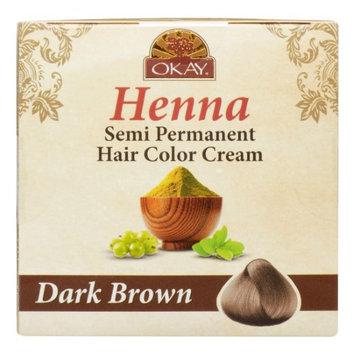 Okay Henna Semi Permanent Hair Color Cream Dark Brown, 1.7 Oz