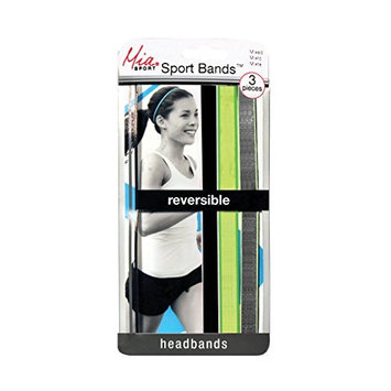 Mia Sport Bands-Elastic Reversible Thin Headbands-Great For Sports And Working Out-Black/White, Lime/Green, Charcoal/Lime Green-Measures Approximately 0.25 Inches Wide (3 pieces per package)