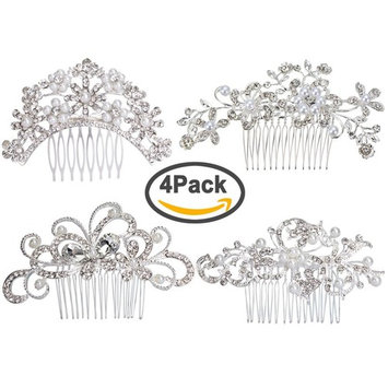 Pack of 4 Bridal Wedding Hair Comb Rose Gold Crystal Rhinestones Pearls Women Hair Side Combs Bridal Head Pin Headpiece (Rose G