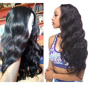 H&N Hair Brazilian Virgin Hair Full Lace Wigs Body Wave Human Hair Wigs For Black Women 130% Density with Baby Hair Natural Color (16inch)