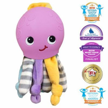 Silli Chews 2 In 1 Octopus Lovie Soft Plush Baby Toy Silicone Soft Teething Pain Relief Teether for Babies Infants and Toddlers PVC Phthalate Lead and BPA Free Chew Toy Purple Cute Stocking Stuffers