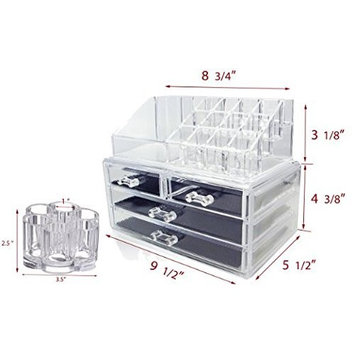 Set of 2 Clear Acrylic Cosmetics , Jewelry and Makeup Organizer Brush Holder with 12 Spaces ( idea for Christmas, birthday gift)