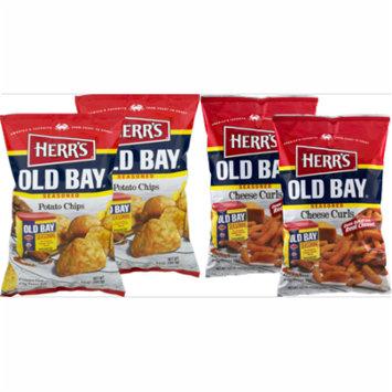 Herr's Old Bay Seasoned Potato Chips & Old Bay Seasoned Cheese Curls Variety Pack (4 Bags)