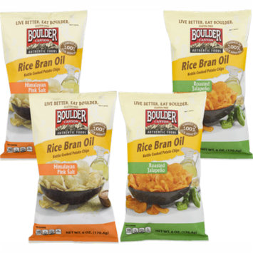Boulder Canyon Authentic Foods Rice Bran Oil Kettle Cooked Potato Chips Variety 4- Pack