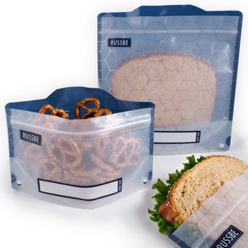 Set of 4 Russbe Reusable Snack; Sandwich Bags -Metallic Hexagrid