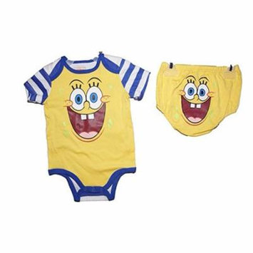 [P] Disney infant Girls' Spongebob Square Pants Creeper with Diaper Cover Set 6/9M