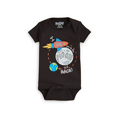 Infant Boy's Sara Kety Baby & Kids 'Moon and Back' Bodysuit, Size 12-18M - Black