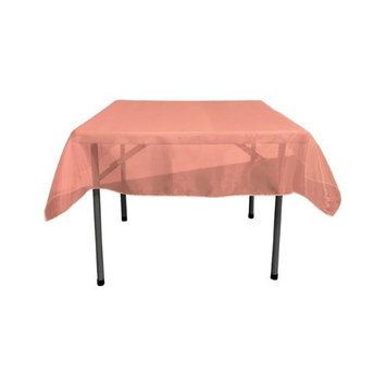 LA Linen TCOrgz58X58-CoralO15 Sheer Mirror Organza Square Tablecloth, Coral - 58 x 58 in.