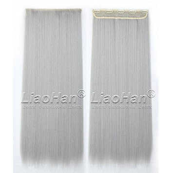 Straight Long Clip in Silver Grey Hair Extensions 3/4 Full Head Synthetic Hair Clip in on Grey Hairpieces