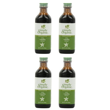 Simply Organic Pure Vanilla Extract, Certified Organic, 4-Ounce Glass Bottle (4 Pack)