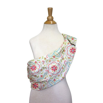 Mila and Gia Floral Flower Coral Aqua Adjustable Baby Sling Carrier Wrap by The Peanut Shell - Coral Pink Floral