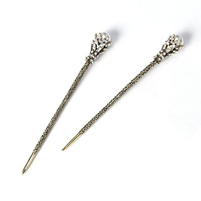FRCOLOR 2PCS Pearl Hair Stick Vintage Hair Chopsticks Hairpin Chignon Pin