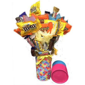 Candy Bouquet Fun Sized! Mini Candy Variety Assortment - Congratulations - Birthday - Get Well Soon - Thank You